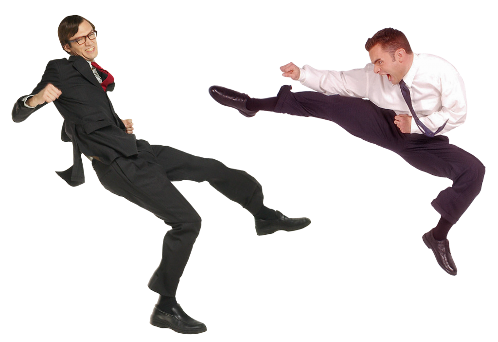 Two businessmen fighting.